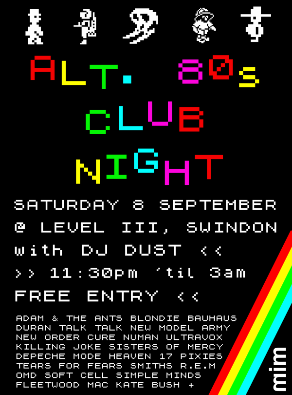 DJ Dust's Alternative 80's club night @ Level III poster